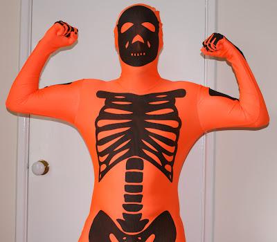 Orange skeleton morphsuit