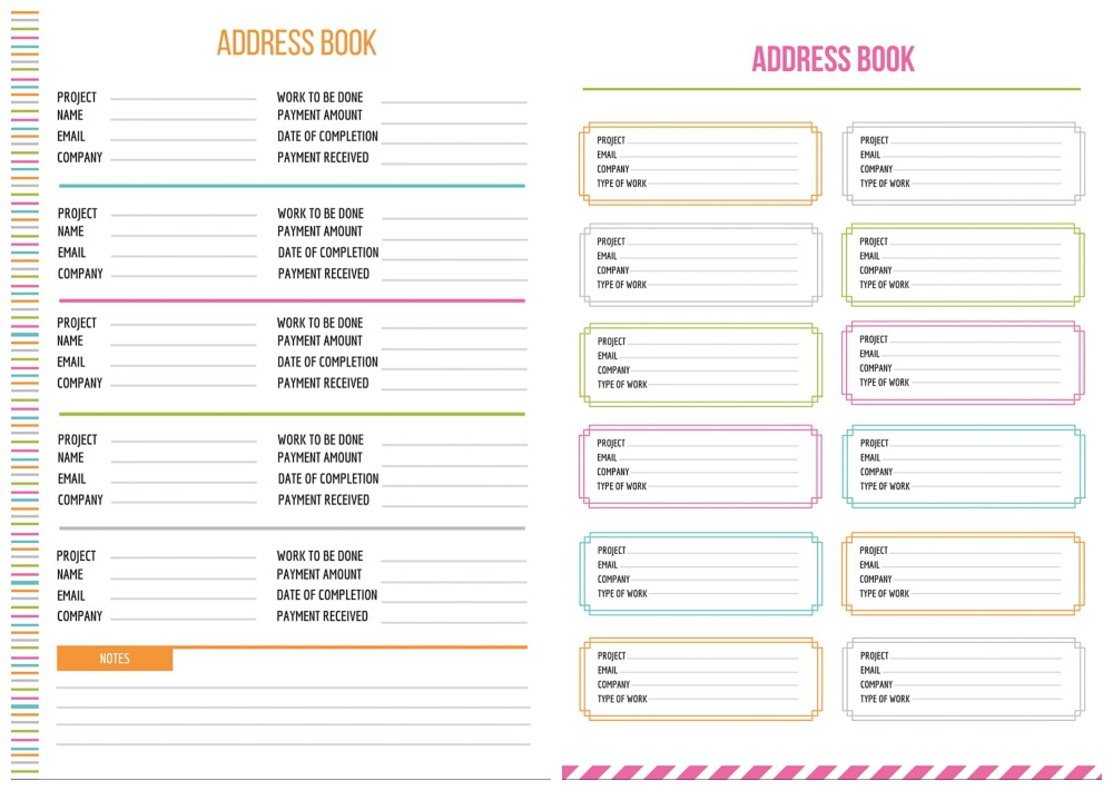 cute printable address book pages