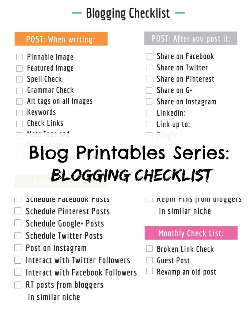 blogging checklist printable