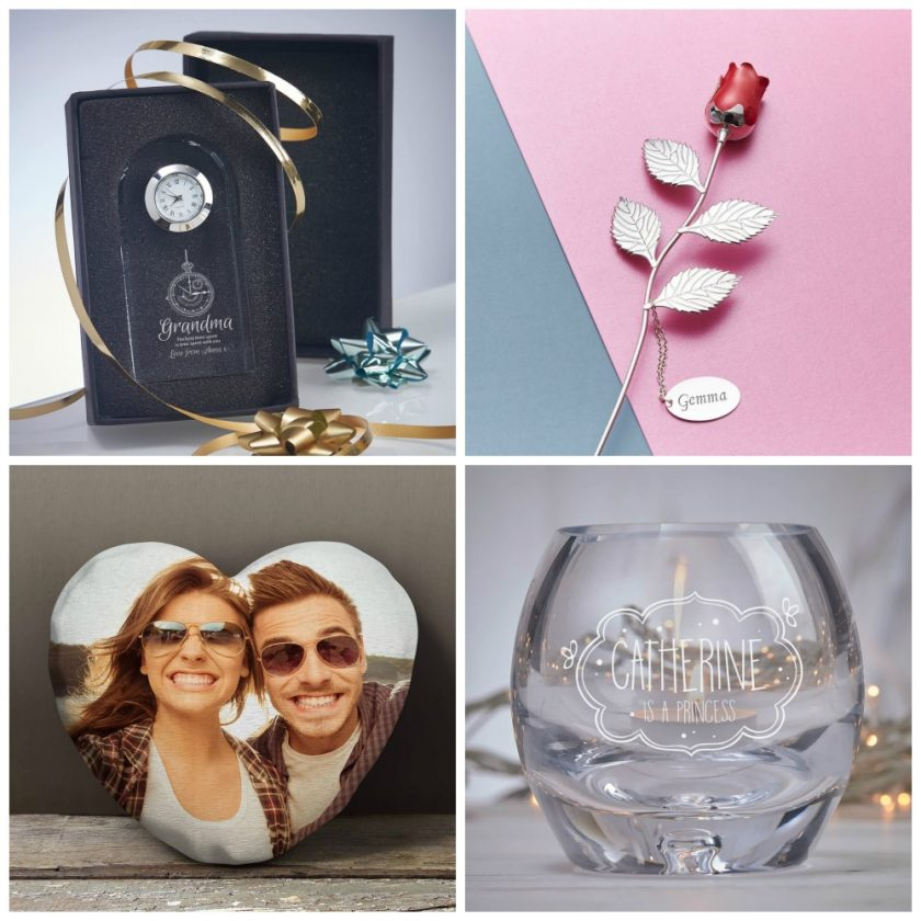 GiftPup Items: Optical Crystal Beveled Arch Clock 10cm Silver Plated Ruby Red Rose Photo Heart Cushion 'Princess' Candle Holder