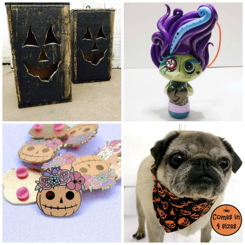 Etsy Halloween Image 1 Wooden Halloween Jack O' Lantern Zombie Troll Flower Pumpkin Pin Badge Dog Bandana