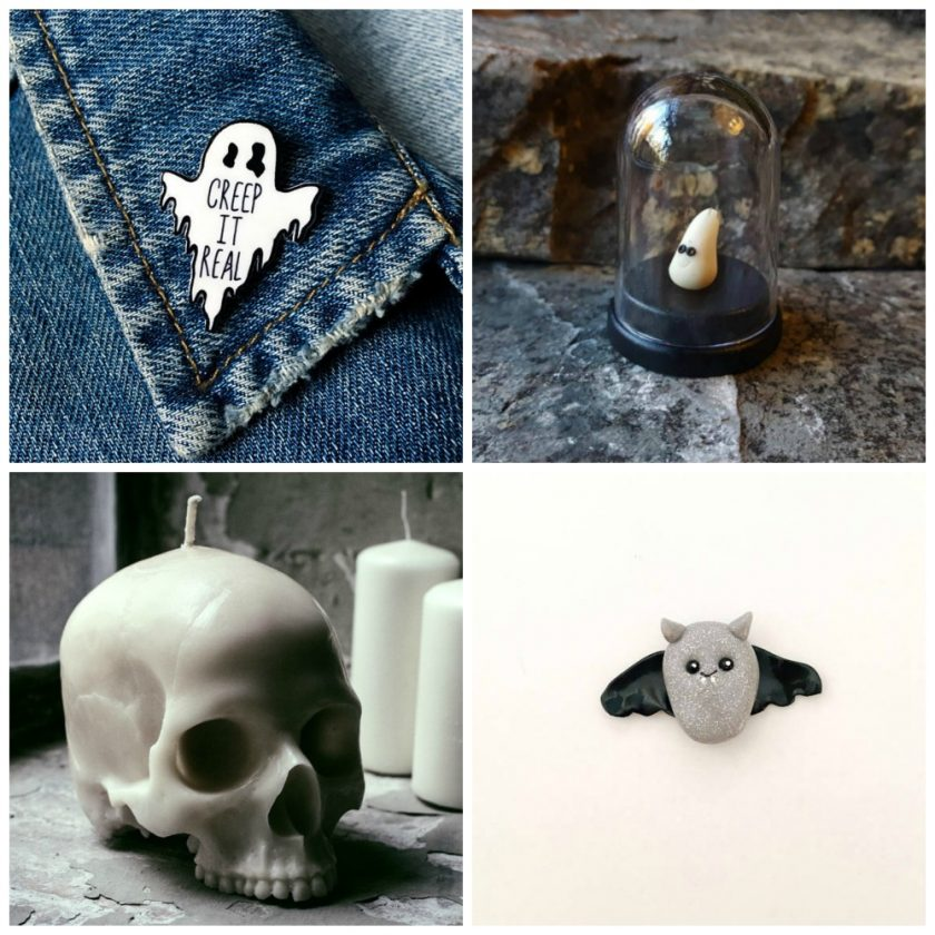 Etsy Halloween image 2 Creep It Real Ghost Badge Pet Glow in the Dark Ghost Life-Size Skull Candle Clay Vampire Bat