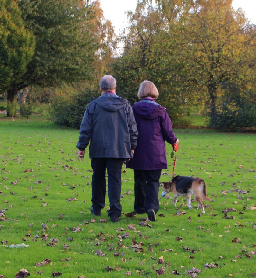 My parents walking the dog in the park wearing; Terry: BRASHER Men's Country Hiker Shoe, PETER STORM Men's Softshell II Trousers, PETER STORM Men's Packable Jacket and Sue: PETER STORM Women's Cyclone Waterproof Jacket, PETER STORM Women's Ramble II Lined Trousers, PETER STORM Women's Grace Gilet Photo from Behind
