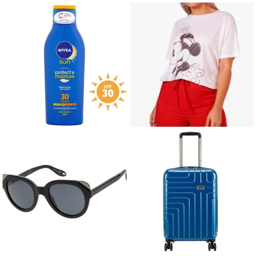 Holidays Must Haves suncream, clothes, accessories, luggage holder