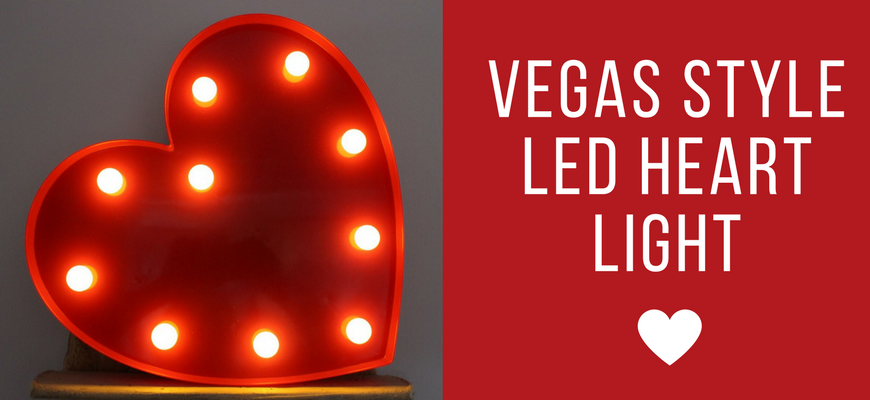 "Vegas L.E.D. 13"" Plastic Light Up Heart Header"