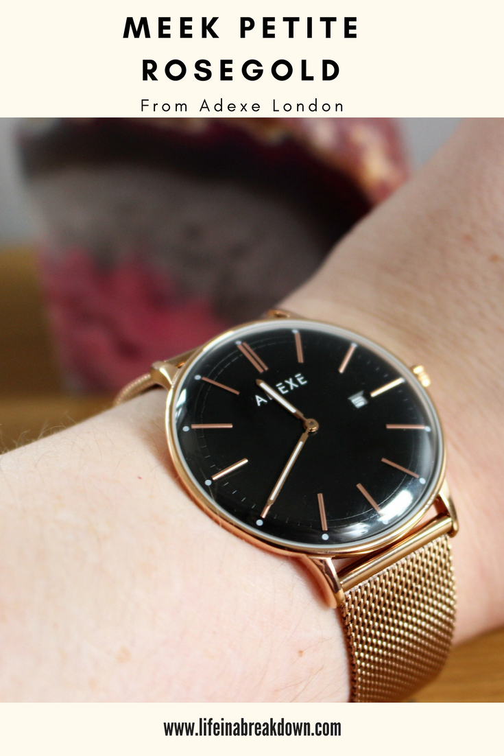 Meek - Petite Rosegold Watch from Adexe London - Photo of it on my wrist - This is a pinnable Image