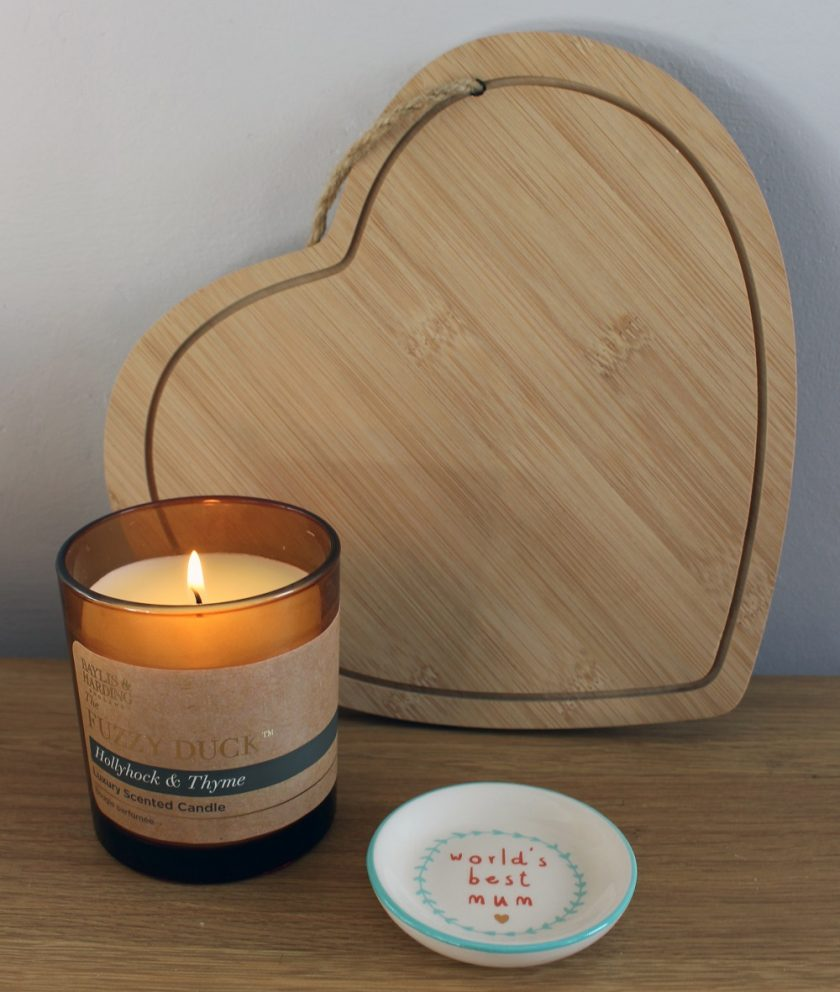 Mothers Day Blueberry Tree - Heart shaped chopping board, candle and ring dish