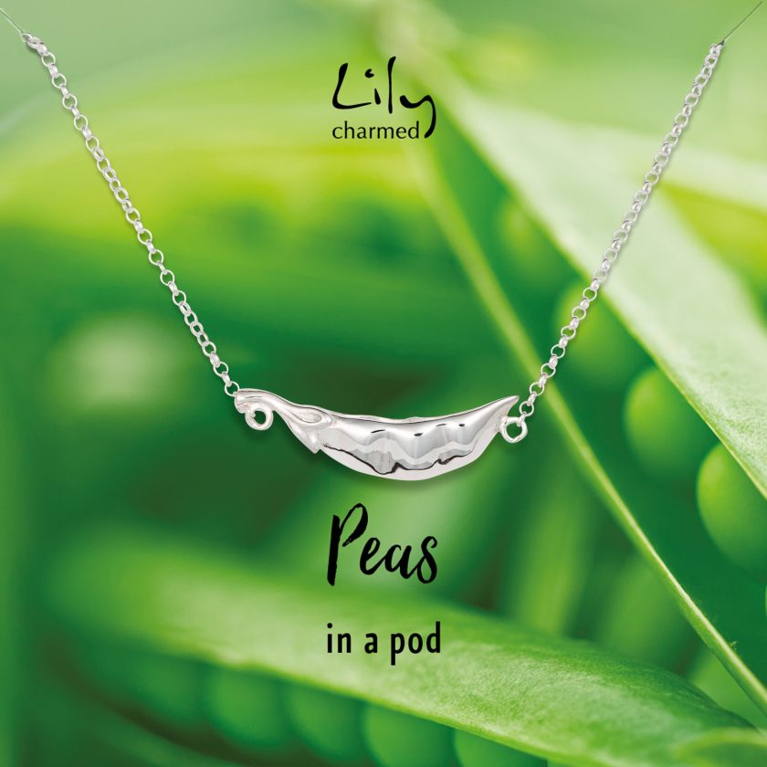 Silver Peas In A Pod Necklace with Peas In A Pod Message by Lily Charmed NSPEAS59